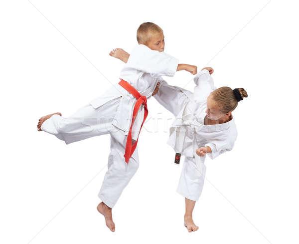 Karate sportolók ütem lány egészség sportok Stock fotó © Andreyfire