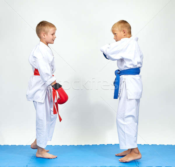 Athletes in karategi preparing for battle karate Stock photo © Andreyfire