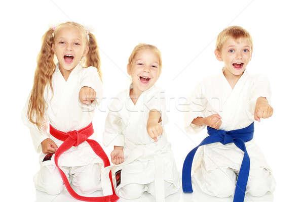 Jungen Kinder Lächeln Kimono Sitzung Ritual Stock foto © Andreyfire
