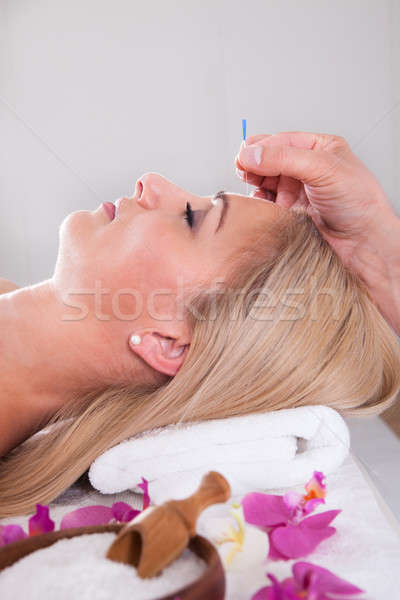 Beautiful Woman In An Acupuncture Therapy In A Spa Center Stock photo © AndreyPopov