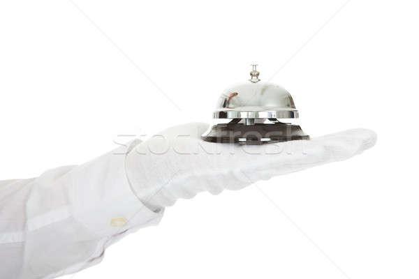 Kellner halten Service Glocke Hand weiß Stock foto © AndreyPopov