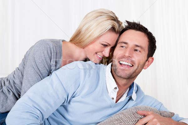 Heureux homme femme séduisant jeune homme Photo stock © AndreyPopov