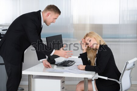 Empresário de volta jovem escritório papel Foto stock © AndreyPopov