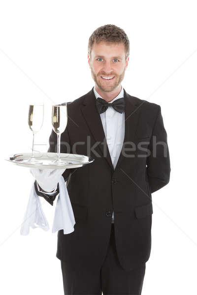 Kelner szampana flety taca portret Zdjęcia stock © AndreyPopov