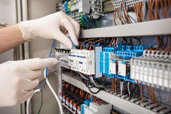 Technician Repairing Fusebox Stock photo © AndreyPopov