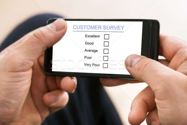 Osoby nadzienie klienta badanie formularza telefonu komórkowego Zdjęcia stock © AndreyPopov
