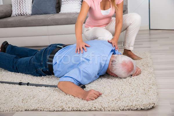 Kadın bakıyor özürlü baba genç kadın Stok fotoğraf © AndreyPopov