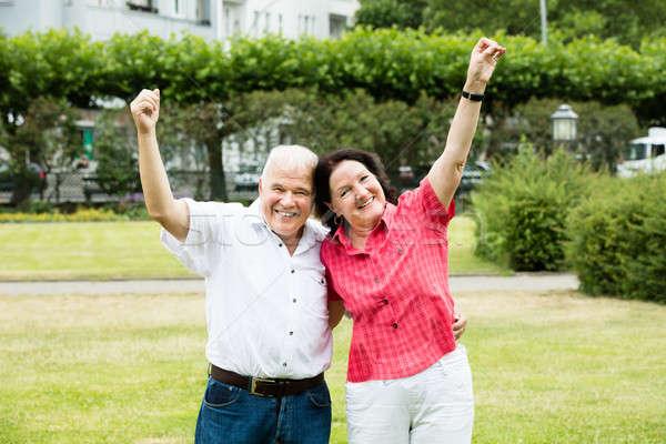 Portrait Of Elder Couple Raising Their Arms Stock photo © AndreyPopov
