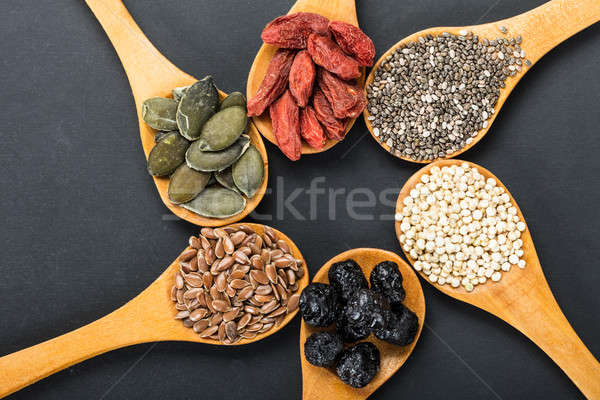 Superfoods In A Wooden Spoons Stock photo © AndreyPopov