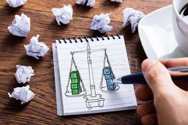 Zdjęcia stock: Pracy · życia · równowagi · rysunek · notatnika · biurko