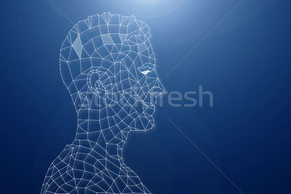 Digital Human Head On Blue Background Stock photo © AndreyPopov