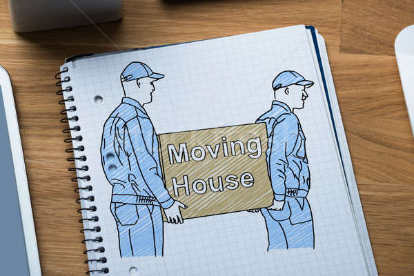Drawing Of Movers Carrying Boxes In Book Stock photo © AndreyPopov