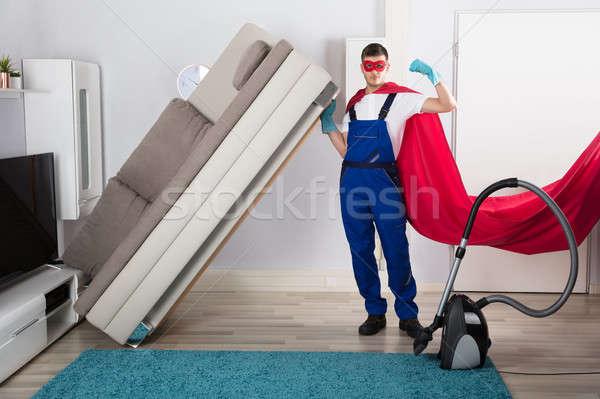 Stockfoto: Kostuum · schoonmaken · vloer · mannelijke