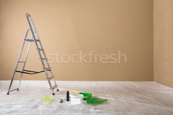 Festett szoba létra festmény felszerelések frissen Stock fotó © AndreyPopov