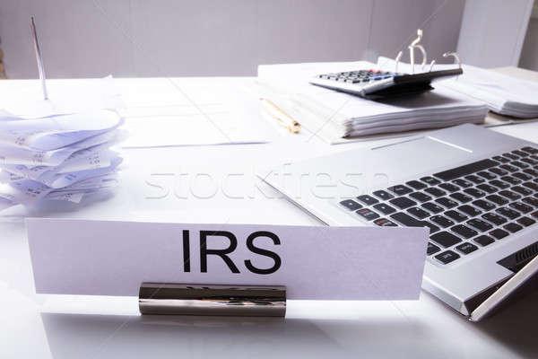 Adóhatóság asztal közelkép laptop iratok iroda Stock fotó © AndreyPopov
