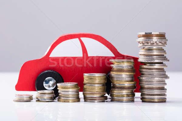 Stockfoto: Munten · Rood · auto · grijs · hout