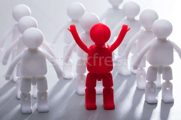 Red Human Figure Standing With Team In A Row Stock photo © AndreyPopov