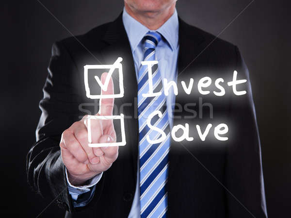 üzletember kiválaszt opció képernyő fekete pénz Stock fotó © AndreyPopov