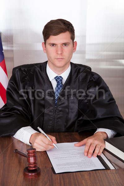 Сток-фото: мужчины · судья · молоток · книга