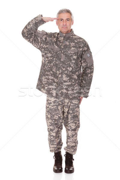 Mature Military Soldier Saluting Stock photo © AndreyPopov