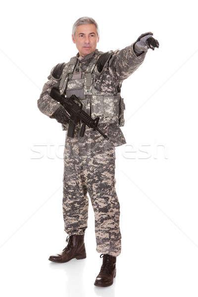 成熟した 兵士 ライフル 孤立した 白 ストックフォト © AndreyPopov