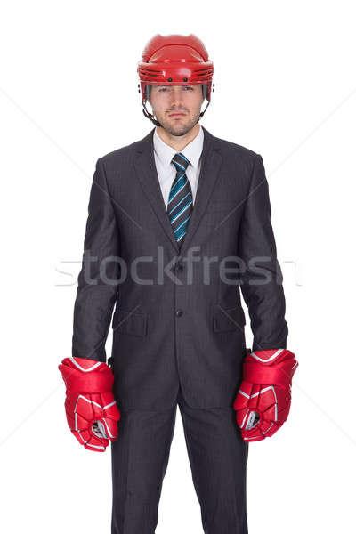 Competitivo imprenditore indossare hockey isolato Foto d'archivio © AndreyPopov
