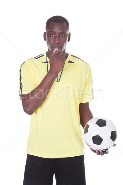Calcio arbitro palla fischiare bocca Foto d'archivio © AndreyPopov