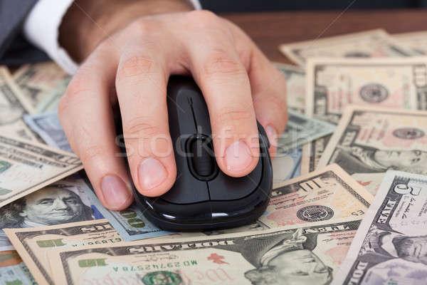 üzletember számítógéphasználat egér bankjegyek kép számítógép Stock fotó © AndreyPopov