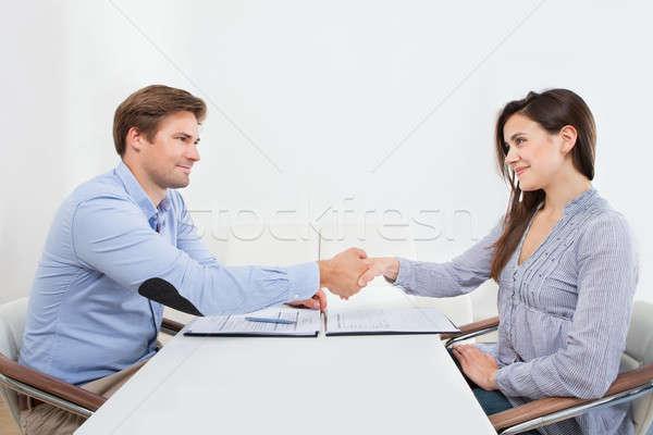 Mosolyog jelölt kezet fog üzletember női kézfogás Stock fotó © AndreyPopov