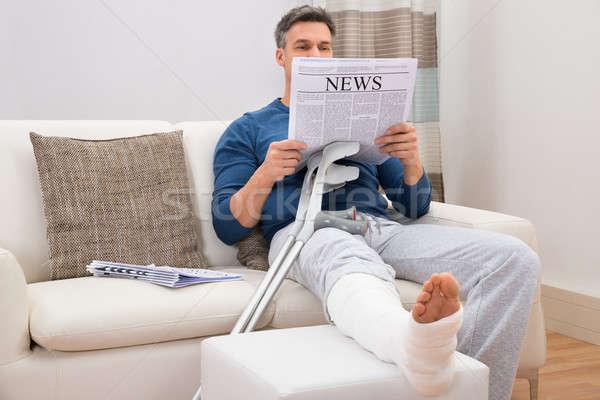 инвалидов человека чтение газета сидят Сток-фото © AndreyPopov