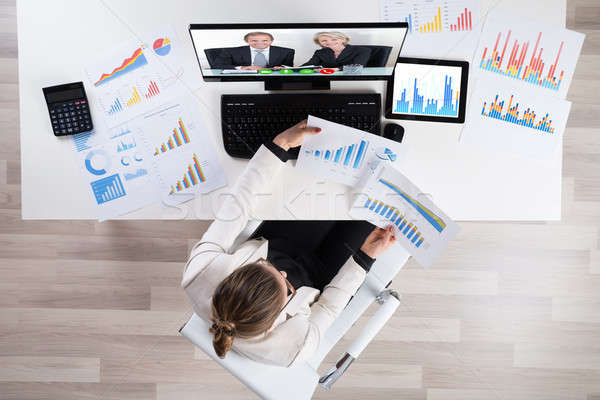 Businesswoman Videoconferencing On Computer Stock photo © AndreyPopov