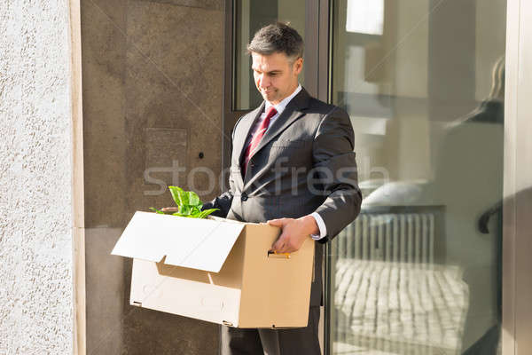 Mature Businessman Moving Out With Cardboard Box From Office Stock photo © AndreyPopov