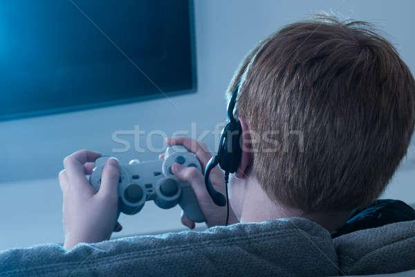 Jongen bedieningshendel spelen Stockfoto © AndreyPopov