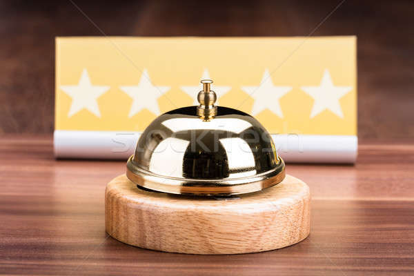 Service Bell Near Five Star Shape Card Stock photo © AndreyPopov