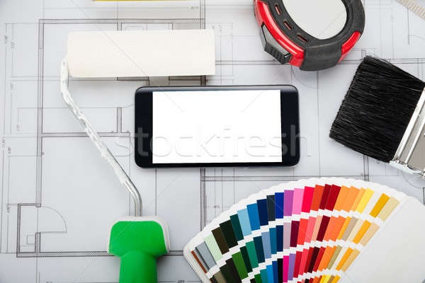 Mobile Phone Showing Blank Screen On Blueprint Stock photo © AndreyPopov
