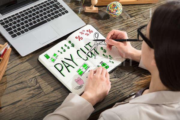 Mujer dibujo salario papel trabajo Foto stock © AndreyPopov