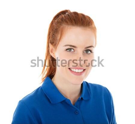 Portret gelukkig vrouwelijke witte vrouw Stockfoto © AndreyPopov