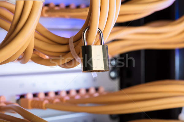 Padlock Attached To Network Cable In Server Room Stock photo © AndreyPopov