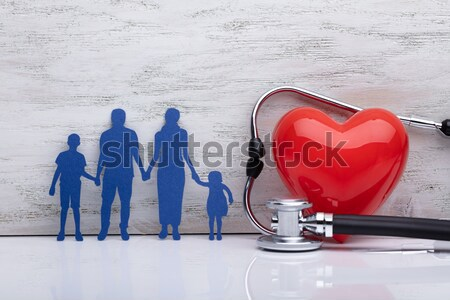 Red Heart And Colorful Clay Family With Stethoscope Stock photo © AndreyPopov