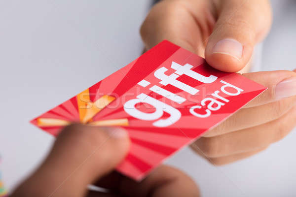 Two Businesspeople Holding Gift Card Stock photo © AndreyPopov
