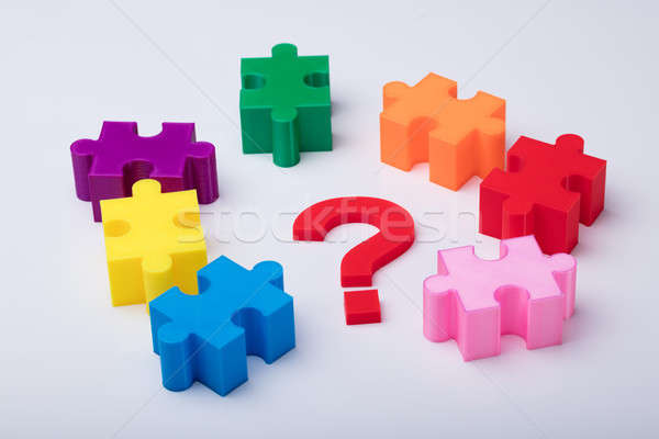 Close-up Of Multi Colored Jigsaw Puzzle Stock photo © AndreyPopov