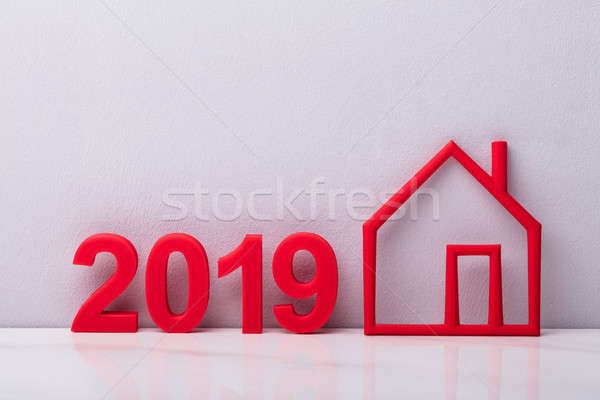 Year 2019 Near Outline Of Red House Stock photo © AndreyPopov