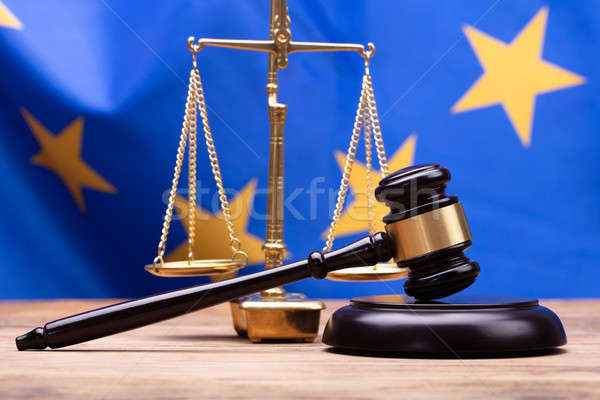 Close-up Of Mallet And Justice Scale Stock photo © AndreyPopov
