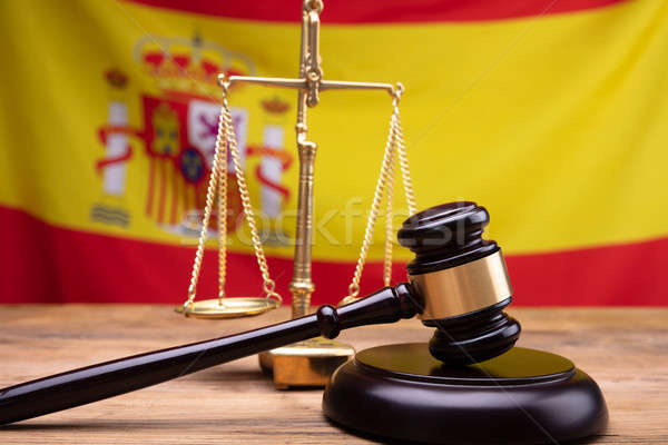 Close-up Of Wooden Gavel And Justice Scale Stock photo © AndreyPopov