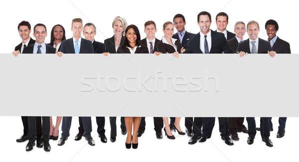 Сток-фото: группа · плакат · счастливым · белый