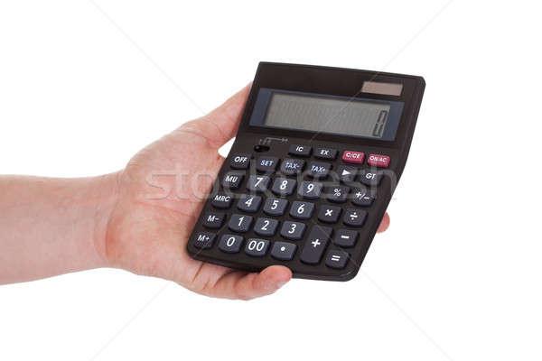 Mężczyzna strony Kalkulator biały Zdjęcia stock © AndreyPopov