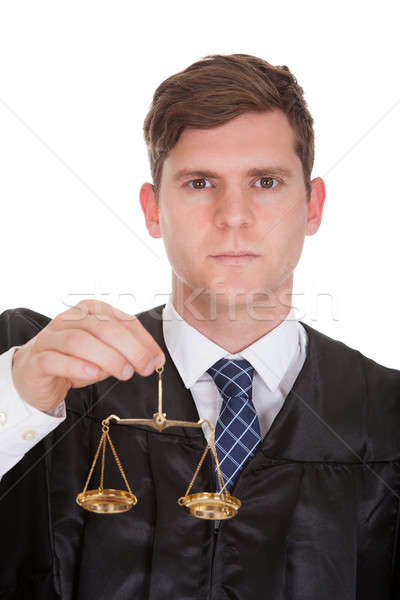 Homme avocat poids échelle blanche Photo stock © AndreyPopov