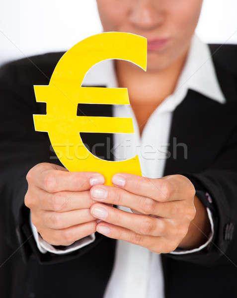 手 黄色 ユーロ にログイン クローズアップ ストックフォト © AndreyPopov