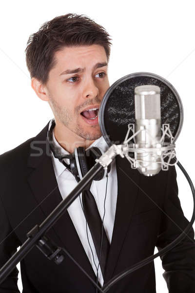 Singer and microphone Stock photo © AndreyPopov