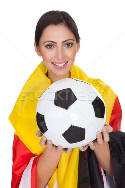 Happy Female German Supporter Stock photo © AndreyPopov